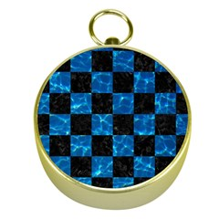 Square1 Black Marble & Deep Blue Water Gold Compasses by trendistuff