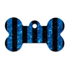 Stripes1 Black Marble & Deep Blue Water Dog Tag Bone (one Side) by trendistuff
