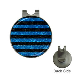 Stripes2 Black Marble & Deep Blue Water Hat Clips With Golf Markers by trendistuff