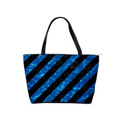 Stripes3 Black Marble & Deep Blue Water Shoulder Handbags by trendistuff