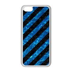 Stripes3 Black Marble & Deep Blue Water Apple Iphone 5c Seamless Case (white) by trendistuff