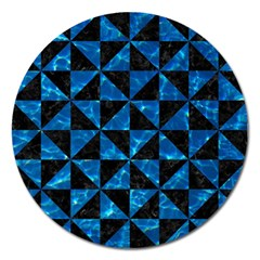 Triangle1 Black Marble & Deep Blue Water Magnet 5  (round) by trendistuff