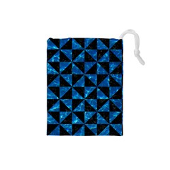 Triangle1 Black Marble & Deep Blue Water Drawstring Pouches (small)  by trendistuff