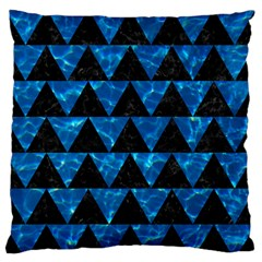 Triangle2 Black Marble & Deep Blue Water Large Flano Cushion Case (one Side) by trendistuff
