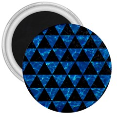 Triangle3 Black Marble & Deep Blue Water 3  Magnets by trendistuff