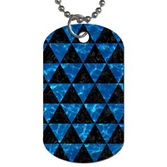 Triangle3 Black Marble & Deep Blue Water Dog Tag (two Sides) by trendistuff
