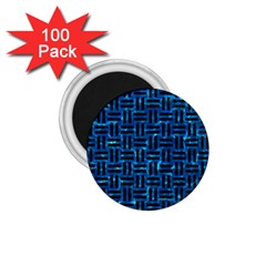 Woven1 Black Marble & Deep Blue Water (r) 1 75  Magnets (100 Pack)  by trendistuff