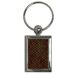 Brick1 Black Marble & Fire Key Chains (rectangle)  by trendistuff