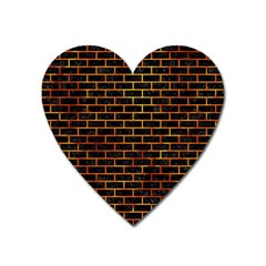 Brick1 Black Marble & Fire Heart Magnet by trendistuff