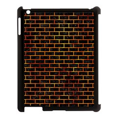 Brick1 Black Marble & Fire Apple Ipad 3/4 Case (black) by trendistuff