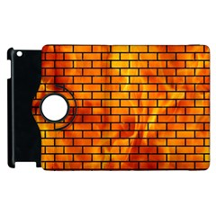 Brick1 Black Marble & Fire (r) Apple Ipad 2 Flip 360 Case by trendistuff