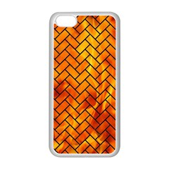 Brick2 Black Marble & Fire (r) Apple Iphone 5c Seamless Case (white) by trendistuff