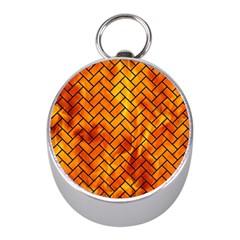 Brick2 Black Marble & Fire (r) Mini Silver Compasses by trendistuff
