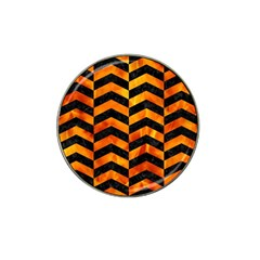 Chevron2 Black Marble & Fire Hat Clip Ball Marker (10 Pack) by trendistuff