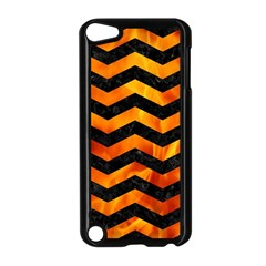 Chevron3 Black Marble & Fire Apple Ipod Touch 5 Case (black) by trendistuff