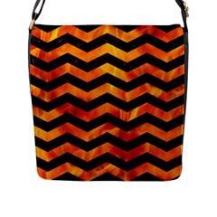 Chevron3 Black Marble & Fire Flap Messenger Bag (l)  by trendistuff