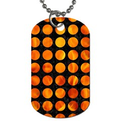 Circles1 Black Marble & Fire Dog Tag (one Side) by trendistuff