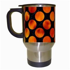 Circles2 Black Marble & Fire Travel Mugs (white) by trendistuff