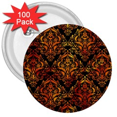Damask1 Black Marble & Fire 3  Buttons (100 Pack)  by trendistuff