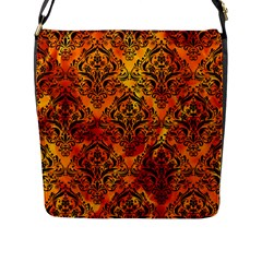 Damask1 Black Marble & Fire (r) Flap Messenger Bag (l)  by trendistuff