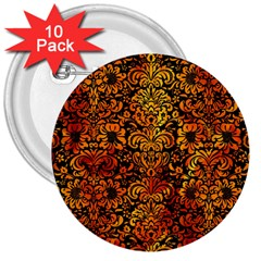Damask2 Black Marble & Fire 3  Buttons (10 Pack)  by trendistuff