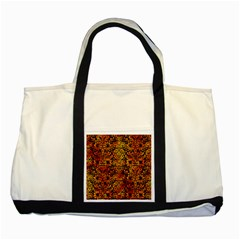 Damask2 Black Marble & Fire Two Tone Tote Bag by trendistuff