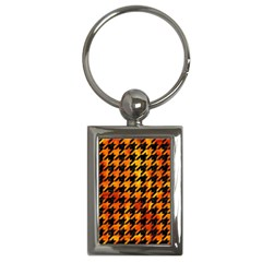 Houndstooth1 Black Marble & Fire Key Chains (rectangle)  by trendistuff
