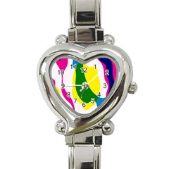 Anatomicalrainbow Wave Chevron Pink Blue Yellow Green Heart Italian Charm Watch by Mariart