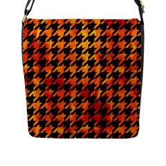 Houndstooth1 Black Marble & Fire Flap Messenger Bag (l)  by trendistuff