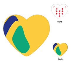 Yellow Green Blue Playing Cards (heart)  by Mariart