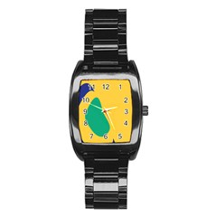 Yellow Green Blue Stainless Steel Barrel Watch by Mariart