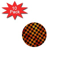 Houndstooth2 Black Marble & Fire 1  Mini Buttons (10 Pack)  by trendistuff