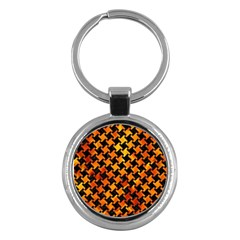 Houndstooth2 Black Marble & Fire Key Chains (round)  by trendistuff