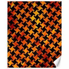 Houndstooth2 Black Marble & Fire Canvas 11  X 14   by trendistuff