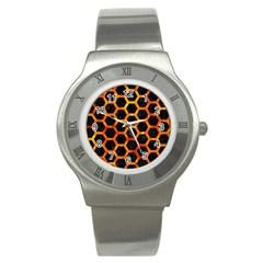 Hexagon2 Black Marble & Fire Stainless Steel Watch by trendistuff