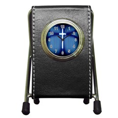 Blue Cross Christian Pen Holder Desk Clocks by Mariart