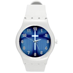 Blue Cross Christian Round Plastic Sport Watch (m) by Mariart