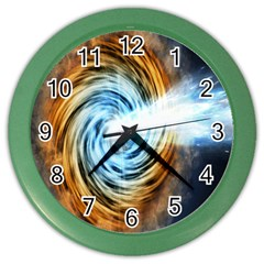 A Blazar Jet In The Middle Galaxy Appear Especially Bright Color Wall Clocks by Mariart