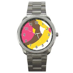 Breast Pink Brown Yellow White Rainbow Sport Metal Watch by Mariart