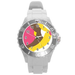 Breast Pink Brown Yellow White Rainbow Round Plastic Sport Watch (l) by Mariart