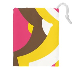 Breast Pink Brown Yellow White Rainbow Drawstring Pouches (xxl) by Mariart