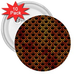 Scales2 Black Marble & Fire 3  Buttons (10 Pack)  by trendistuff