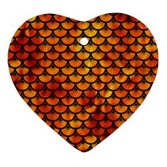 Scales3 Black Marble & Fire (r) Ornament (heart) by trendistuff