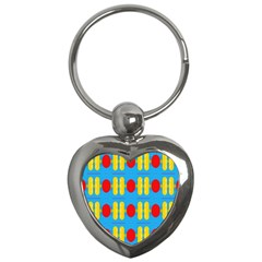 Ovals And Stripes Pattern                            Key Chain (heart) by LalyLauraFLM