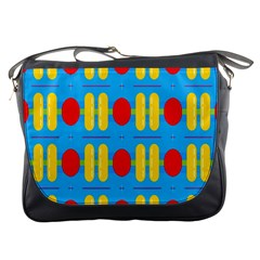 Ovals And Stripes Pattern                            Messenger Bag by LalyLauraFLM