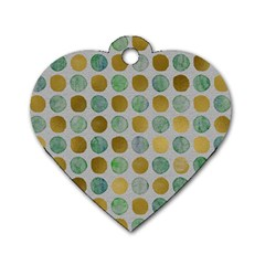 Green And Golden Dots Pattern                            Dog Tag Heart (one Side) by LalyLauraFLM