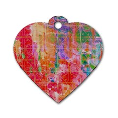 Colorful Watercolors Pattern                            Dog Tag Heart (one Side) by LalyLauraFLM