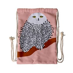 Animals Bird Owl Pink Polka Dots Drawstring Bag (small) by Mariart