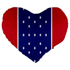British American Flag Red Blue Star Large 19  Premium Flano Heart Shape Cushions by Mariart