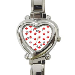 Canadian Maple Leaf Pattern Heart Italian Charm Watch by Mariart